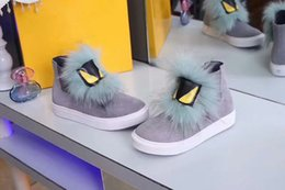 Wholesale Little Blue Shoes - 2017Fendi Comfortable casual shoes Sky blue fluffy casual shoe little monster Yellow eyes Outdoor shoes Personality female shoes