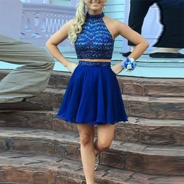 Wholesale Chiffon Short Homecoming Dances - Blue Two Pieces Homecoming Dresses Bling Bling Beading Halter Homecoming Party Dresses Back to school dancing Gowns