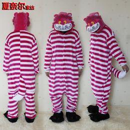 Wholesale Cheshire Cat Onesie Pajamas - Unisex Adult Pajamas Kigurumi Cosplay Costume Sleepwear Flannel Animal Onesie Cheshire cat S M L XL