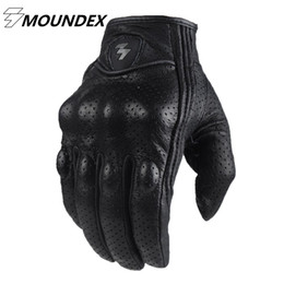Wholesale Perforated Leather Gloves - Wholesale- Retro Perforated Leather Motorcycle Gloves 2 Style Cycling Moto Motorbike Protective Gears Motocross Glove
