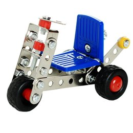 Wholesale Model Cars Building Kits - Wholesale- 1 Set Children's Educational Metal Toys Cars Model Building Kits Block Assembled Inserted Aircraft Baby Kids Creative Game Gifts