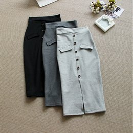 Wholesale Front Pencil Skirt - Wholesale-New Spring Split Front High Waist Wool Knit Skirts Female Slim Hips Button Pencil Skirt Long Skirt