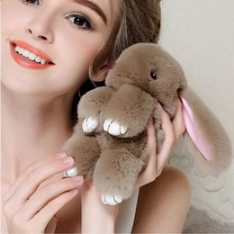 Wholesale Black Rex Rabbit - 8 colors Bunny Rex Rabbit Fur Bag Handbag Keychain Pom Doll Ball Key Chain Ring Pendant high quality