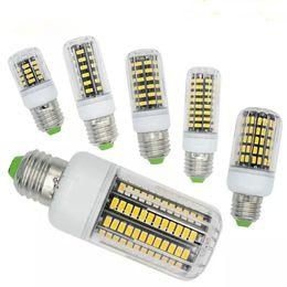 Wholesale Epistar Leds - New Arrival E27 E26 E14 GU10 G9 B22 LED Light Office Corn Bulb 5733 SMD 7W 12W 18W 22W 25W 35W 136 LEDs With Cover 360degree Warm White