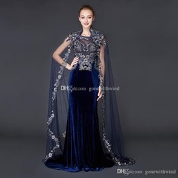 Wholesale Velvet Evening Gowns Sleeves - real photos Arab Dubai wrap sleeves velvet evening dresses 2018 high embroidery crystals beaded scoop neckline sweep train evening gowns