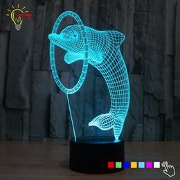 Wholesale Dolphin 3d Bedding - Wholesale- Cute Desk Lamp Animal Dolphin Led Night Light Baby Luminaria 3D Lamp Kids Room LED Lights USB Bed Nightlights