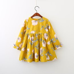 Wholesale Children Style - Everweekend Girls Floral Cotton Dress Cute Baby Children Yellow and Purple Color Western Kids Spring Fall Dresses