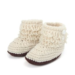 Wholesale crochet girl booties - Wholesale- Fashion Fringe Baby Winter Boots New Born Girls Boys Crochet Booties Infant Crib Shoes Multicolor 10cm