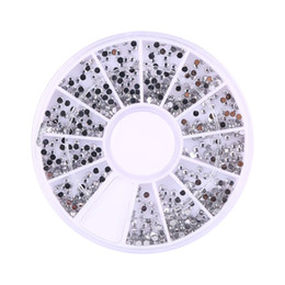Wholesale Wheel Nail Art - Wholesale-1800pcs Silver 1.5mm Nail Art Rhinestones Decoration Diamante Glitter Wheel Beauty Manicure Stickers Ongles Wheel Nail Tool