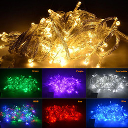 Wholesale Plug String Lights - US EU plug 10M 20M 30M 50M 100M Xmas LED String light 110V 220V IP67 color RGB Christmas String Light outdoor indoor waterproof