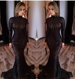 Wholesale Bling Prom Dresses White - 2017 Michael Costello Long Sleeve Prom Dresses Bling Bling Black Sequins High Neck Mermaid Sexy Celebrity Gowns Pageant Evening Dresses