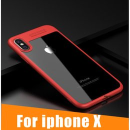 Wholesale Dual Iphone Case Hard Soft - For iPhone X 8 Plus Clear TPU+PC Dual Material Clear Cell Phone Cases Soft Hard Acrylic Protection Cover for iPhone8 Transparent Plastic