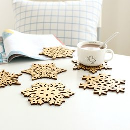 Wholesale Wooden Snowflakes - Wooden Snowflake Mug Coasters Holder Chic Drinks Coffee Tea Cup Mat Decor Mats 001