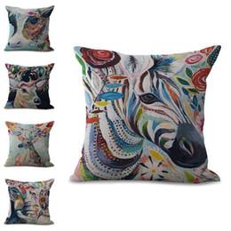 Wholesale Famous Chairs - 2017 famous designer Creative Color Painting Animal cat bird horse Design hug pillowcase Decorative Home Chair Throw Pillows Case 45*45cm