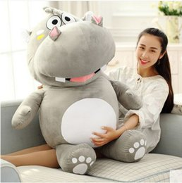 Wholesale Giant Stuffed Plush Hippo - Huge 47'' Lovely Soft Animal Hippo Plush Toy Giant 120cm Stuffed Cartoon Hippopotamus Doll Pillow Kids Gift