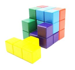 Wholesale tetris puzzle - Natural Wood Colorful Cube Building Blocks Classic 6x6x6 3D Tetris Cube Puzzle Trainning Game Education Toys