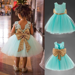 Wholesale Sequins Embroidery For Kids - 2017 Girls summer sequins big bow sleeveless princess dress kids embroidery lace tutu dress baby birthday party clothes 4 colors for 1-5T