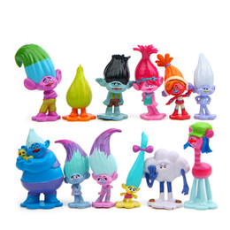 Wholesale Toy Trolls - lot of 12 pcs Trolls Dreamworks Movie PVC Action Figure Guy Diamond Branch Cooper Poppy Biggie DJ Suki Doll Figurine Playset Toy Cake Topper