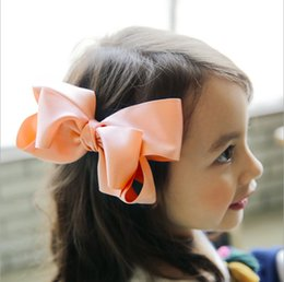 Wholesale Korean Kids Cloths - Children's Hair Accessories girls big BOWS princess hairpin high quality kids hair clips korean style Girls cloth headdress T0672