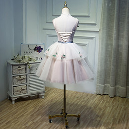 Wholesale Young Girl Fashion Sexy - Fashion New Sweet Light Pink Short Evening Dress Lace Flower Young Girl Princess Party Ball Gown Banquet Cocktail Prom Formal Dresses