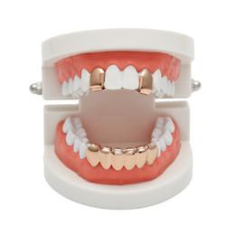 Золотые зубные грили онлайн-Хип-хоп Роуз покрытый металлом Custom Mouth Grillz Set 2шт. Один верхний 6 зубов Нижний набор золотых грилей