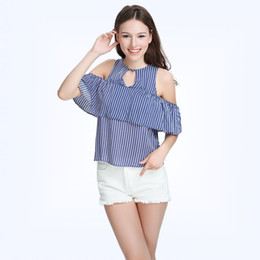 Wholesale Ladies Striped Shirts - Contrast Color Women's Vintage Stripe Shirts 2017 Summer Ruffles Short Sleeve Blue Off Shoulder Hollow Out Female Blouses Ladies Top