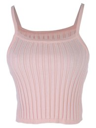 Wholesale Ribbed Tanks - Wholesale-High Waist 90s Short Camis Camisole Spaghetti Strap Cable Rib Elastic Knit Crop Cute Summer Tank Tops For Women