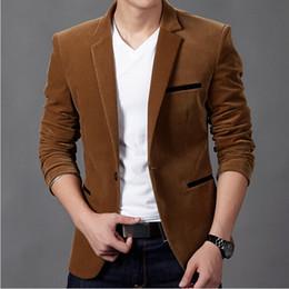 um botão elegante homens Desconto Atacado- 2015 nova chegada masculina primavera marca Casual Blazers um botão elegante Slim veludo Blazer masculino moda paletó jaqueta de alta qualidade