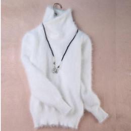Camisola de cashmere de gola alta on-line-Atacado-Novo genuíno vison suéter de cashmere mulheres 100% vison pulôveres de cashmere com gola de gola livre frete S294