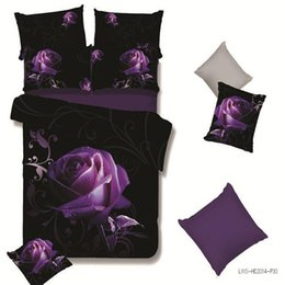 Wholesale Dark Duvet - Wholesale- 2016 New HD 3d bedding bed linens rose duvet cover set cotton polyester 3d bedding set queen bed set 4pc adult bedclothes purple