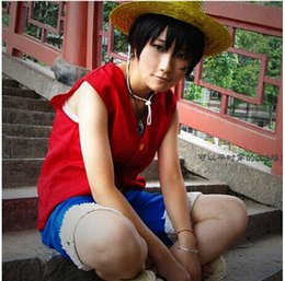Wholesale One Piece Luffy Costume - One Piece Cosplay Luffy Costumes Vest Pant (Female size) cosplay costume personality sweatshirt sleeveless cloth cosplay vest and pant