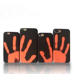 Wholesale Thermal Covers - Thermosensitive Color Change Case Magical PU Fingerprint Back Cover Temperature Sensing Thermal Sensor Heat Shell
