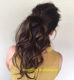 Wholesale Cute Extension - cute messy ponytail black hair drawstring clip in puff wavy remy virgin human hair ponytails clip extension messy wavy hairstyle long hair