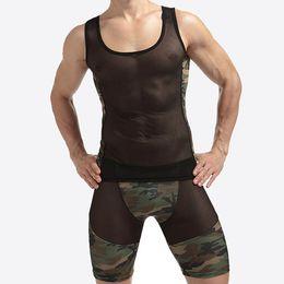 Canada 1 ensembles Mesh Sexy Hommes Débardeurs gilet transparent Singlet Sous-Chemises Gay Exotique pure Nylon Camouflage Sous-Vêtements Lingerie Ensemble cheap exotic nylons Offre