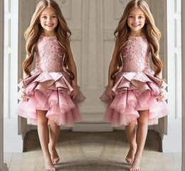 Wholesale Lace Ruffle Shorts For Girls - 2017 Sweety Flower Girls Dresses For Weddings Jewel Neck Sleeveless Lace Short Tiered Ruffles Girl Pageant Gowns DTJ