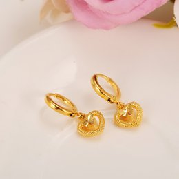 Wholesale love dangle earrings - Exquisite Love Heart Earring Women Birthday Gift Trendy Real 14k Yellow Solid Fine Gold Filled Engagement Wedding Bands Promise Earring