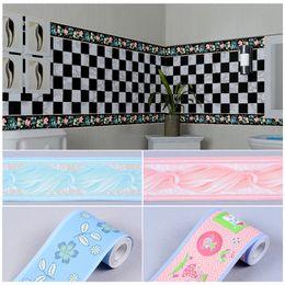 Wholesale Wood Pvc Wall Sticker - Wholesale- 10cm wide*10m PVC self-adhesive wallpaper kitchen bathroom living room baseboard waistline tiled wall stickers waterproof