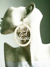Wholesale Words Earrings - 2017 NEW afro BLACK GIEL MAGIC WORD WOODED EARRING GOR WOMEN WEO-001