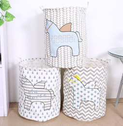 Wholesale Kids Toy Storage Horse Storage Canvas Bags Room Organizer Folding Baby Clothes Laundry Bag With Handle aundry Basket KKA1666