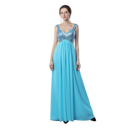 Wholesale Long Flowing Dresses Sexy - Real photos Backless V-Neck Prom Dress Maternity Dress Flowing Chiffon With Beading Pregnant Spagetti Strap Prom Gowns