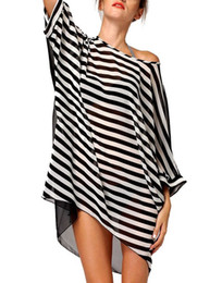 Wholesale Women Blouses Bohemian - Summer loose chiffon black and white striped beach skirt swimsuit coat blouse bikini beach jacket women fashion dresses