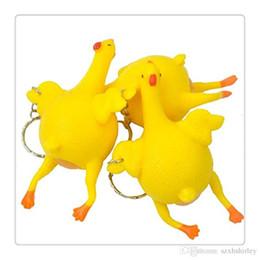 2019 brinquedo de galinha engraçado Atacado Hot New Stress Relief Vent Brinquedos Tricky Livre DHL Squeeze Frango Deitado Egg Chave Cadeia Engraçado Galinha Deitar Ovos Brinquedos Frete Grátis brinquedo de galinha engraçado barato