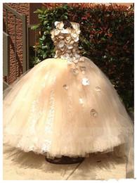 Wholesale Ballgown Kids - Sparkling Spaghetti Handmade Flower Flowergirl Dresses Gold Bow Belt Bead Princess Kids Floor Length Bridesmaid Dress Girl Pageant Ballgown