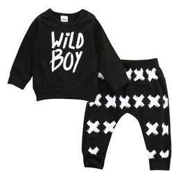 Wholesale- 2016 New baby boy girl clothes set unisex cotton long-sleeved letter wild boy T-shirt+pants newborn baby clothing set от Поставщики каменные ножницы