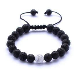 Wholesale Turquoise Stone Jewelry For Men - Natural Turquoise Black Lava Stone Weave Bracelets Aromatherapy Essential Oil Diffuser Bracelet For Women Men jewelry