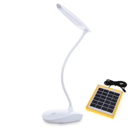 Wholesale Desk Study Lamps - Rechargable 480LM 30 LEDs 6W Solar Powered LED Desk Lamp Adjustable Touch Sensor Reading Light With USB Study Home Lighting