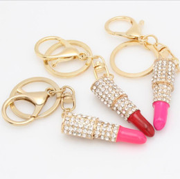 Wholesale Lipstick Charm Pendant - Metal Alloy Lipstick Shaped Rhinestone Crystal Key ring Charm Pink Pendant Car Gold Key Chain For Woman Gift 4colors