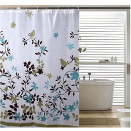 Wholesale Peva Curtain - Wholesale- Classic Floral 1.8*1.8m Thick Waterproof PEVA Shower Curtain Bathroom Curtain With Hooks Bathing Curtains PC870645