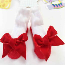 Wholesale Newborn Black Leggings - Fashion Black Red Velour Bow Newborn Short Socks Cotton Baby Infant Girls Sock Birthday Gift Baby Leggings Socks