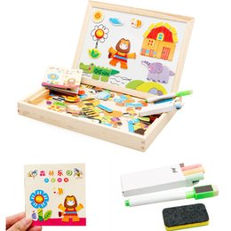 Wholesale Writing Magnetic Boards Children - Wholesale-Kids Wooden Easel New Children Multifunctional Writing Board Magnetic Animal Puzzle Sketchpad Wooden Educational Toy